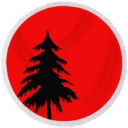 Tree Silhouette On A Red Background 2 Round Beach Towel