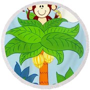 Tree Top Monkey Round Beach Towel