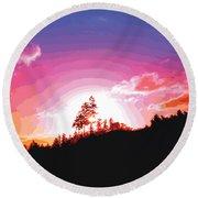 Tree Top Sunrise Round Beach Towel
