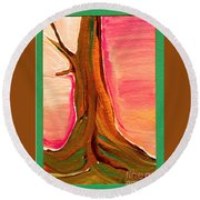 Tree Trunk Round Beach Towel