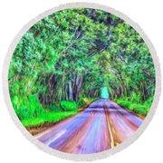 Tree Tunnel Kauai Round Beach Towel