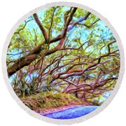 Tree Tunnel Near Isaac Hale Beach Round Beach Towel
