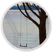 Tree With A Swing Round Beach Towel