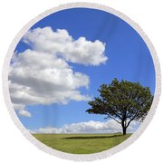 Tree With Clouds Round Beach Towel