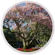 Tree With Pink Flowers Round Beach Towel