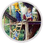 Treehouse Magic Round Beach Towel