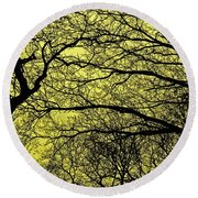 Trees Abstarct Yellow Round Beach Towel