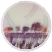 Trees Across The River Round Beach Towel