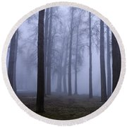 Trees Along Greenlake In Fog Round Beach Towel