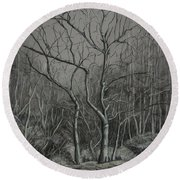 Trees Along The Greenway Round Beach Towel by Janet Felts