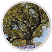 Trees And Flowers Round Beach Towel