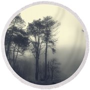 Trees And Fog At Castle Hill Round Beach Towel