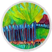 Trees And Meadow Round Beach Towel