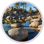 Trees And Rocks Round Beach Towel