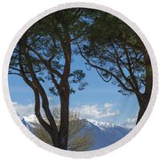 Trees And Snow-capped Mountain Round Beach Towel
