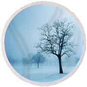 Trees And Snow In Fog, Toronto, Ontario Round Beach Towel