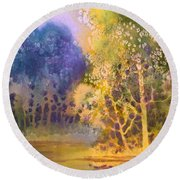 Trees And Water Round Beach Towel