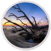 Trees At Driftwood Beach Round Beach Towel by Debra and Dave Vanderlaan
