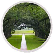Trees At Oak Alley Plantation Round Beach Towel
