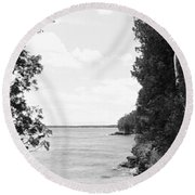 Trees At The Lakeside, Cave Point Round Beach Towel