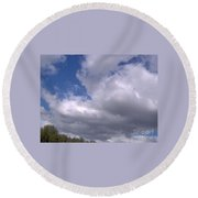 Trees Below The Clouds Round Beach Towel