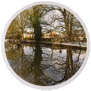 Trees Beside The Wintry Rolleston Pond Round Beach Towel