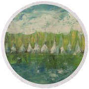 Trees By The River Round Beach Towel