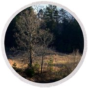 Trees By The Wayside Round Beach Towel
