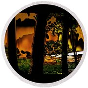 Melted Sunset Abstract Round Beach Towel