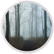 Trees During Autumn In Forest, Dupage Round Beach Towel