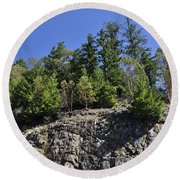 Trees Growing On The Edge Round Beach Towel