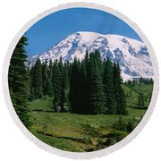 Trees In A Forest, Mt Rainier National Round Beach Towel