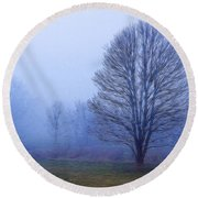 Trees In Fog #2 Round Beach Towel