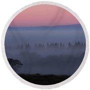 Trees In Fog At Sunrise Round Beach Towel