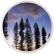 Trees In Silhouette Round Beach Towel
