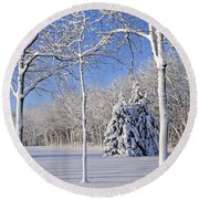 Trees In Snow  Wisconsin Round Beach Towel by Anonymous