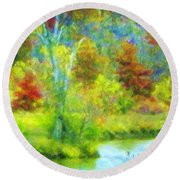 Trees In Spring On A Lake Round Beach Towel