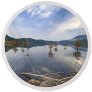 Trees In The Lake Round Beach Towel