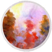 Trees In The Morning Round Beach Towel