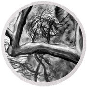 Trees In The Wind Round Beach Towel