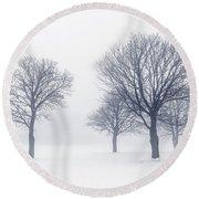 Trees In Winter Fog Round Beach Towel