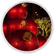 Trees Lights And Ornaments Round Beach Towel
