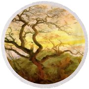 Trees Of Crows Round Beach Towel