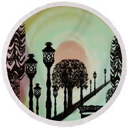 Trees Of Lights Round Beach Towel