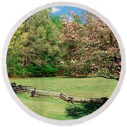 Trees On A Field, Davidson River Round Beach Towel