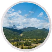 Trees On Canadian Rockies Along Route Round Beach Towel