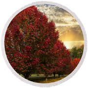 Trees On Fire Round Beach Towel