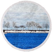 Trees On The Edge Round Beach Towel