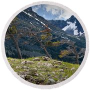 Trees On Top Of A Ridge At Glacier National Park Round Beach Towel