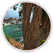 Trees Over Mcway Falls Round Beach Towel